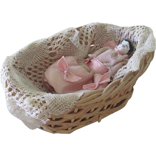 Antique Miniature Frozen Charlotte China Doll in Wicker Basket