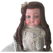 Antique Papier Mache Shoulder Head Doll w/ Glass Eyes c1890