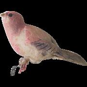 Antique German Spun Cotton Song Bird Christmas Ornament c1900