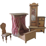 Antique Pine Miniature Dollhouse Bedroom Set Canopy Bed, Dresser and chair