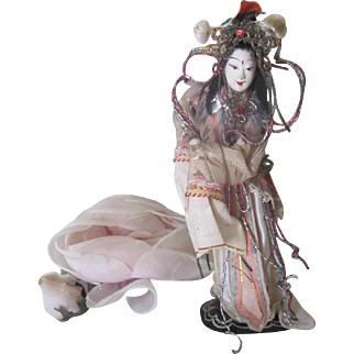 Old Vintage Papier Mache Ornate Chinese Opera Doll c1930-40