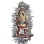 Antique Victorian Die Cut / Scrap and Tinsel Christmas Ornament