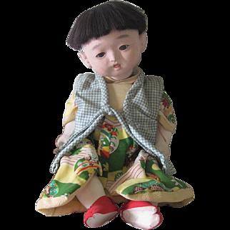 Vintage Japanese Ichicmatus Gofun Baby Doll c1940