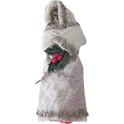 Antique Victorian Scrap, Cotton and Tinsel Young Girl Christmas Ornament Decoration c1890