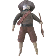 Antique German Spun Cotton Cowboy Christmas Ornament Doll Figure c1890