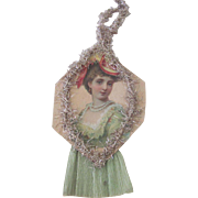 Reserved! Antique Victorian Scrap and Crepe Paper Lady Christmas Ornament Decoration