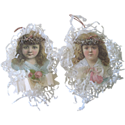 Antique Victorian Scrap and Crepe Paper Angel Christmas Ornament Pair