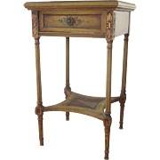 Vintage French Nightstand Hand Painted Floral Side Table c 1920-30