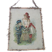 Antique Victorian Scrap and Tinsel Christmas Ornament with Children