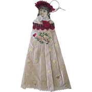 Antique Victorian Scrap and Crepe Paper Lady Christmas Ornament