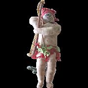 Antique German Spun Cotton Unusual Aboriginal Christmas Ornament Doll Figure