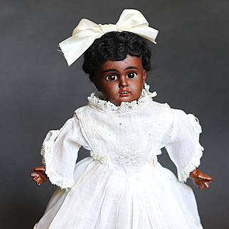 Reduced-Wonderful 11 inch Black Bisque Head Doll with Trunk and Wardrobe