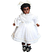 Wonderful 11 inch Black Bisque Head Doll with Trunk and Wardrobe