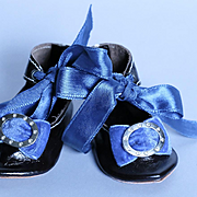 Terrific 3.5 inch Leather Shoes for Antique Doll