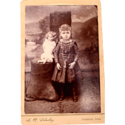 Antique Cabinet Card of Little Girl with Her Doll