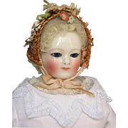 ON HOLD for C.  Antique French Fashion China Head Doll with Stamped Body