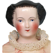 Antique Rare China Doll with Fancy and Unusual Waterfall Hairstyle