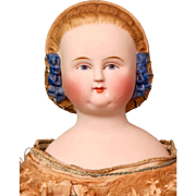 Antique 1860 Parian Shoulder-head Doll with Blue Beaded Snood and Large Blue Ribbons