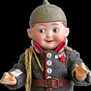 Antique German Bisque Googly Eyes Boy with Molded Helmet