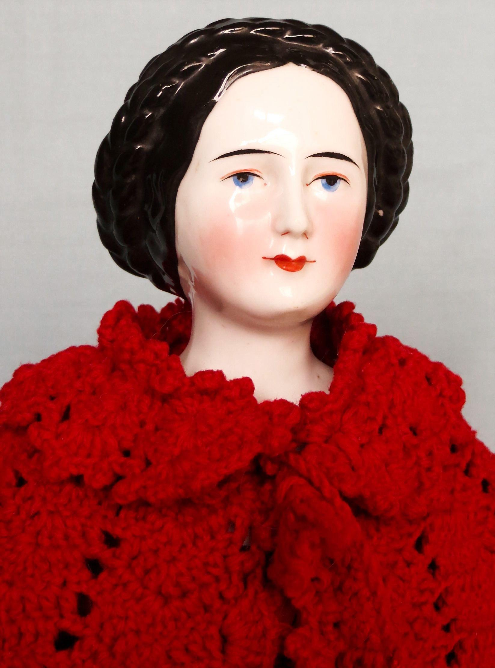 Antique German China Lady Doll With Fancy Hairstyle From