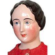 Antique China Lady Doll with Rare Coiffure-Comb in Center of Bun