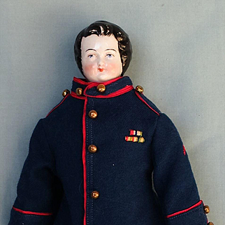 Antique German China Young Gentleman in Military Costume