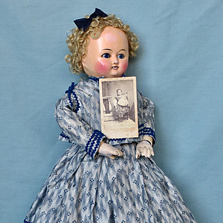 German Wax Coated Papier-Mache Taufling Doll with Provenance
