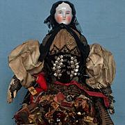 Antique All Original Bun China Doll as a Peddler
