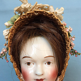 Early Antique China Head Doll circa 1850 made by Lippert & Haas of Schlaggenwald