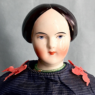 """Antique 16"""" Bun China Head Doll Made in 1850 by the Famous Kestner Doll Company."""
