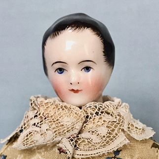 Antique c 1840 China Head Young Girl on Pink Leather Body
