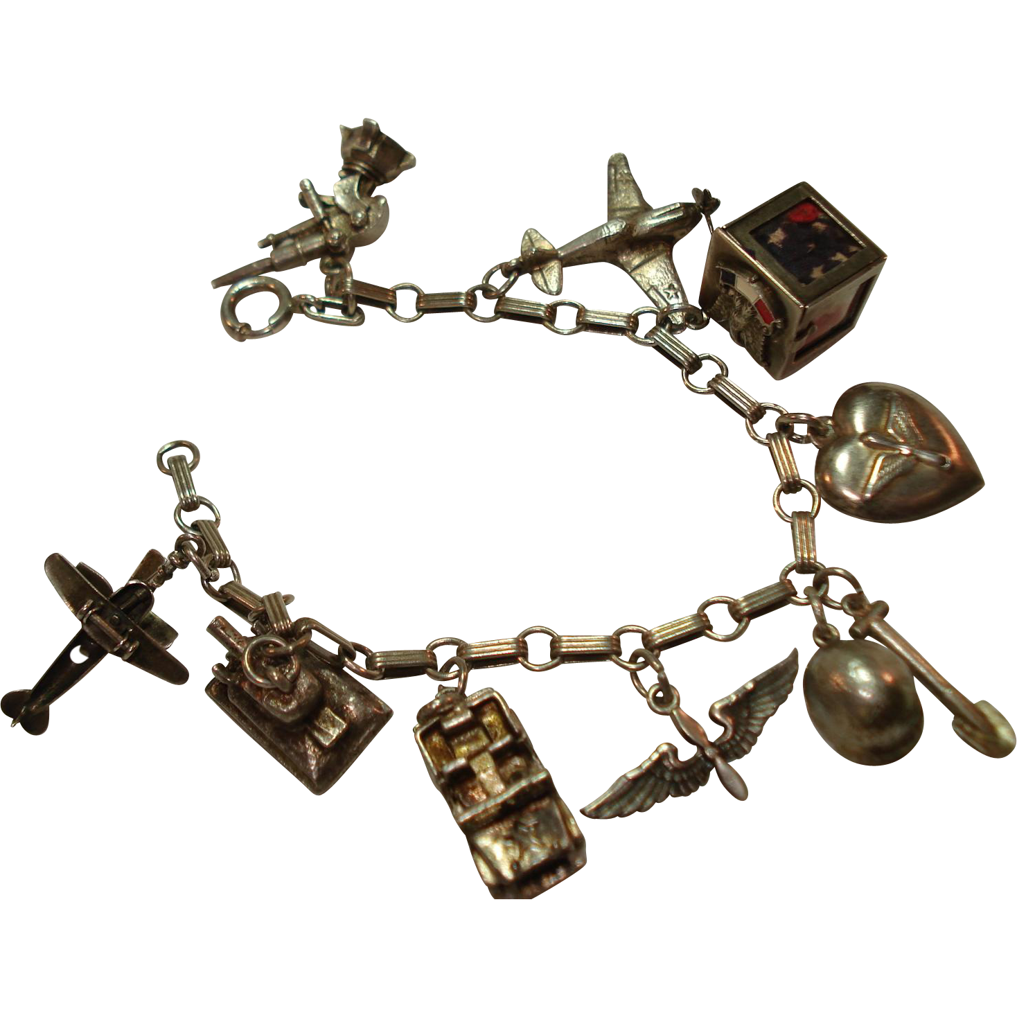 Wwii Military Sterling Army Air Corps Charm Bracelet Rare Walter Lampl Sold Ruby Lane