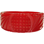 Luscious Deeply Carved Translucent Cherry Red Bakelite Bangle Bracelet