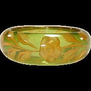 Exquisite Reverse Carved Green Prystal Bakelite Bangle Bracelet