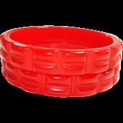 Pr. of Vintage Quilt Carved Cherry Red Bakelite Bangle Bracelets