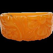 Vintage 30's Wide Carved Marbled Mango Bakelite Clamper Bracelet