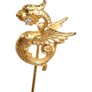 Extremely Detailed VICTORIAN 14k SERPENT Stickpin w/ Diamond