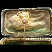 Victorian 10K Staffordshire Bull Terrier w/ Diamond Stickpin Original Case