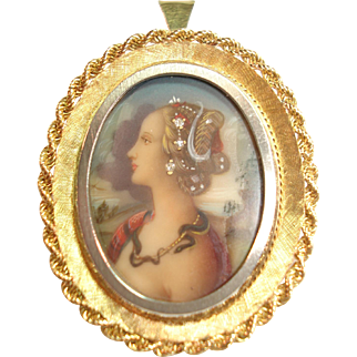 Vintage 18K Gold Jeweled Hand-Painted Portrait Pendant Pin/Brooch