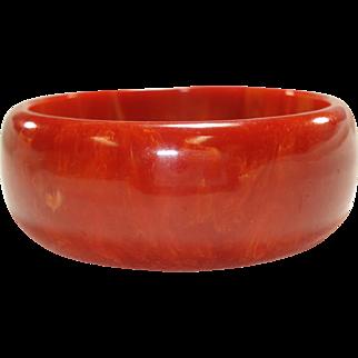 Marbled Paprika Bakelite Bangle Bracelet