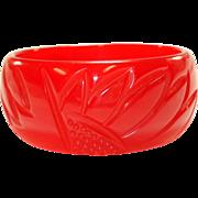 Translucent Cherry Red Carved Sunflower Bakelite Bangle Bracelet