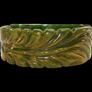 Carved Puffy Plume Marbled Green Bakelite Clamper Bracelet