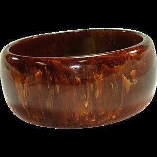 Vintage Gaudy Marbled Brown Bakelite Bangle Bracelet
