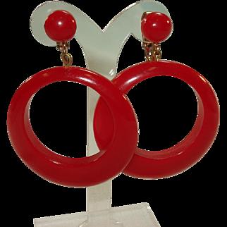 Pr. of Large Cherry Red Bakelite Hoop Earrings