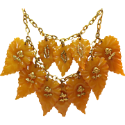 1930's Carved Leaves Translucent Marbled Butterscotch Bakelite Bib Necklace