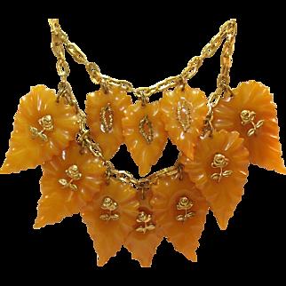 1930's Carved Leaves Translucent Marbled Butterscotch Bakelite Bib Necklace