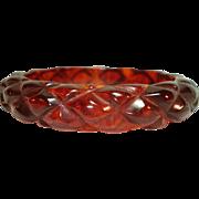Vintage Pineapple Carved Marbled Root Beer Prystal Bakelite Bangle Bracelet