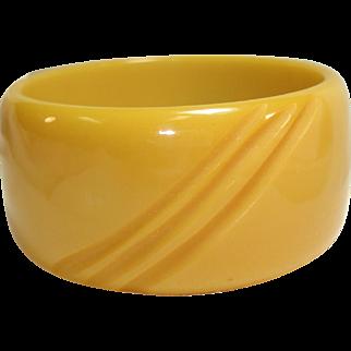 Wide Slash Carved Butterscotch Bakelite Bangle Bracelet