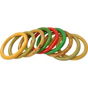 ARMFUL Set of 9 Marbled Bakelite Bangle Bracelets