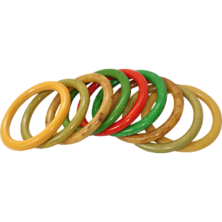 ARMFUL Set of 9 Marbled Bakelite Bangle Bracelets